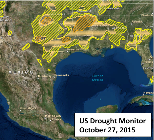 Us Drought Monitor Oct. 27 2015 after hurricane Patricia