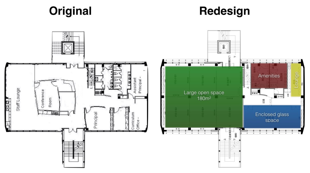 Original floorpan  vs proposed layout of Level 5
