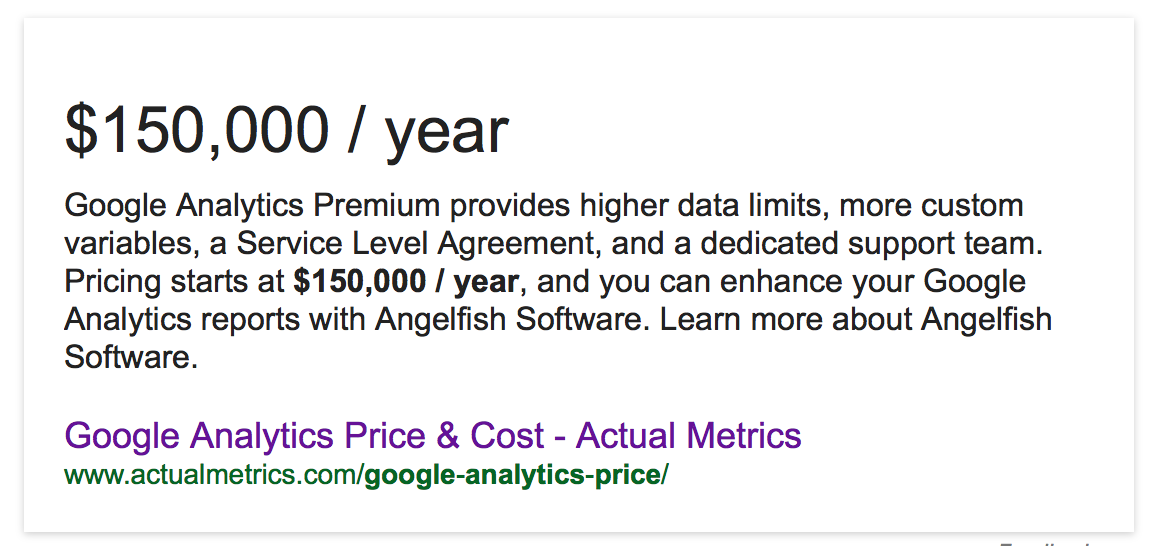 Google analytics premium cost