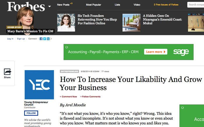 Arel Moodie wrote the Forbes Article on Likability