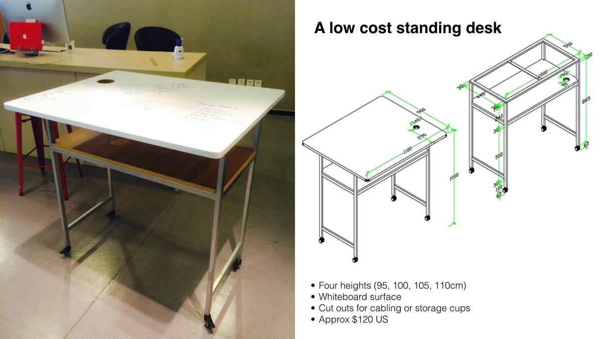 A low cost standing desk