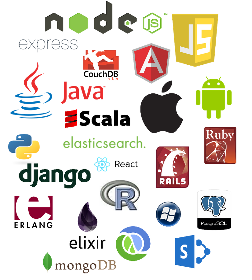 Languages and frameworks: node.js, javascript, couchdb, angularjs, java, scala, elasticsearch, android, ios, ruby, rails, python, react.js, PostgreSQL, windows, R, django, elixir, erlang, mongodb, sharepoint