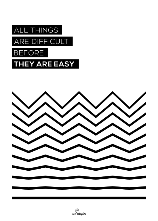startup endorphins poster: all things are difficult before they are easy