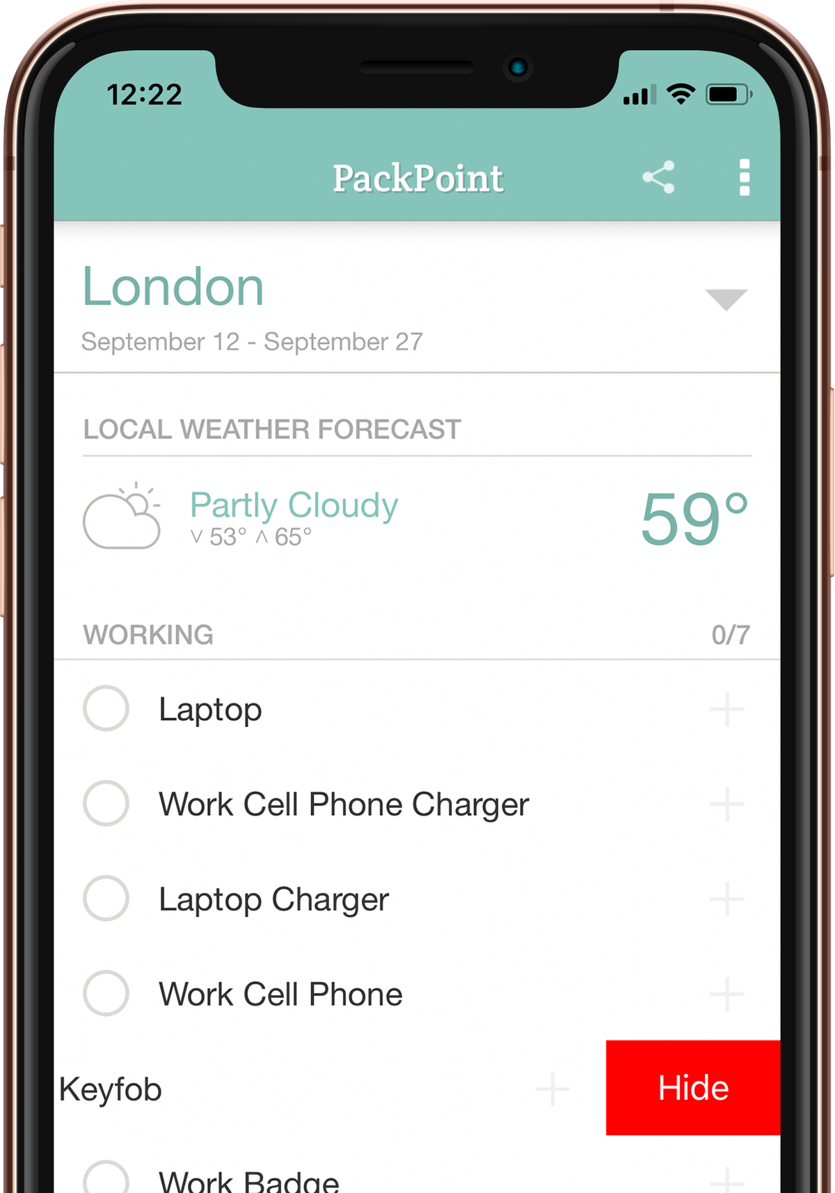 PackPoint travel packing list app