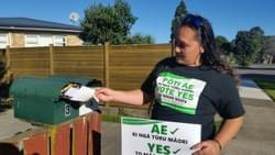 Toni Boyton putting a 'Yes to Māori representation' flier in a letterbox