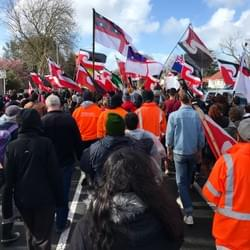 On the hikoi (walk) from Ihumaatao to Jacinda's office