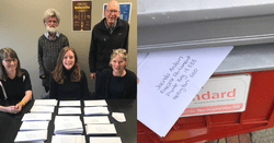 A group of ActionStation volunteers who helped stuff hundreds of envelopes with letters to Jacinda Ardern about welfare
