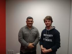 One of our volunteers and Paul Eagle after talking about justice