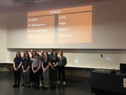 Med students singing a waiata at the launch of our justice report