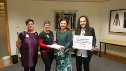Kassie, Conor and Laura delivering the sexual violence petition to Greens co-leader Marama Davidson