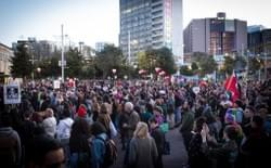 People gathered at a rally against Racism in Aotea Square