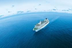 Crystal Serenity World Cruise voyage sailing through the ocean.