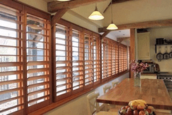 Wood Shutters Kitchen Window