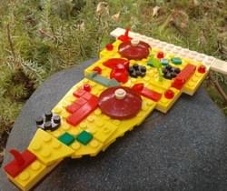Lego sculpture of a slice of pizza