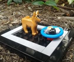 Lego sculpture of a dog eating