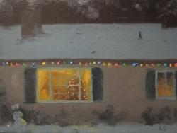 """Christmas Lights & Snow"" - 6x8, Oil"