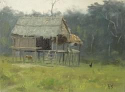 """A House in the Amazon"" - 6x8, Oil"