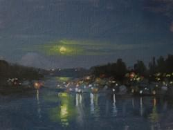 """Gig Harbor Moonrise"" - 6x8, Oil"