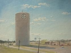 """Ft Hood Water Tower"" - 6x8, Oil"