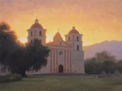 """Mission Santa Barbara"" 18x24, Oil"