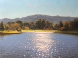 """Lake Balboa: Winter Sun""  14x18, Oil"