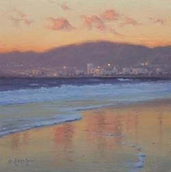 """Santa Monica Sunset""  8x8, Oil"