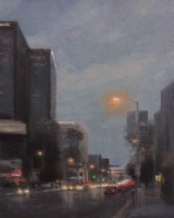 """Dusk on Ventura Blvd""  10x8, Oil, $800"
