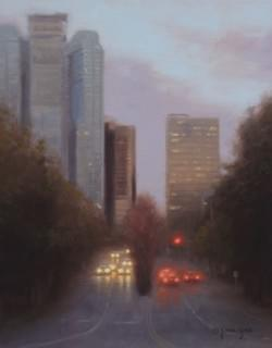 """Bellevue Evening Lights""  14x11, Oil, $1000"