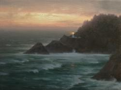 """Heceta Head: Nightfall""  9x12, Oil, $975"