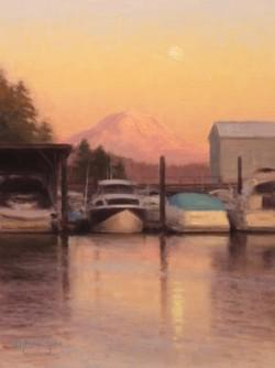 """Moonrise Over the Marina""  12x9, Oil, $950"