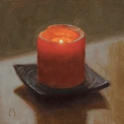 """Rainy Day Candlelight""  6x6, Oil, $475"