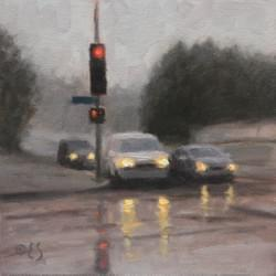 """Rainy Day Red Light""  6x6, Oil, $475"