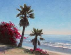 """Bougainvilleas & Blue Skies"" 8x10, Oil, $950"