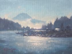 """Gig Harbor: Clearing Fog""  6x8, Oil"