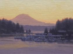 """Gig Harbor: Peaceful Dawn""  6x8, Oil"