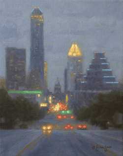 """Austin Texas by Dusk""  8x10, Oil"