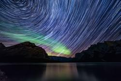 Star Trails and a Green Aurora