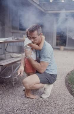 At bedtime, and daddy (Gene Cernan) knows how to calm down great sorrows! The evening barbecue for the adults! :)