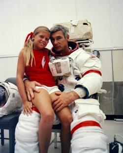Gene Cernan and his daughter Tracy, pre flight training Apollo 17