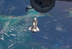 Space shuttle over the bahamas