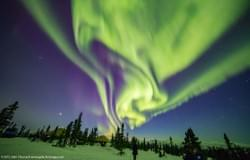 Green and Purple Aurora Colors Alaskan Skies