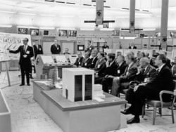 Presenting the current and future Apollo space program to President Kennedy and almost all NASA officials including Von Braun...