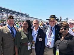 Jon Peterson, Randy Marchi and George Turak with Diamond & Silk at Pocono Raceway