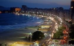 Copacabana beach at night.