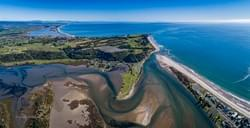 Little Waihi. Bay of Plenty coastline. Aerial.