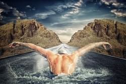 Road swimmer, 123rf components and pixabay