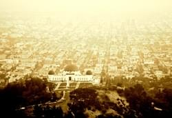 Griffith Observatory and LA sprawl, sepia toned by Alden Olmsted
