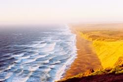 North Beach Sunset and golden cliffs, Pt. Reyes National Seashore