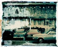 Polaroid Emulsion Peel, Old Cars in Petaluma, Ca