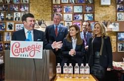 Appearing with Mayor DeBalsio at the reopening of the landmark Carnegie Delicatessen